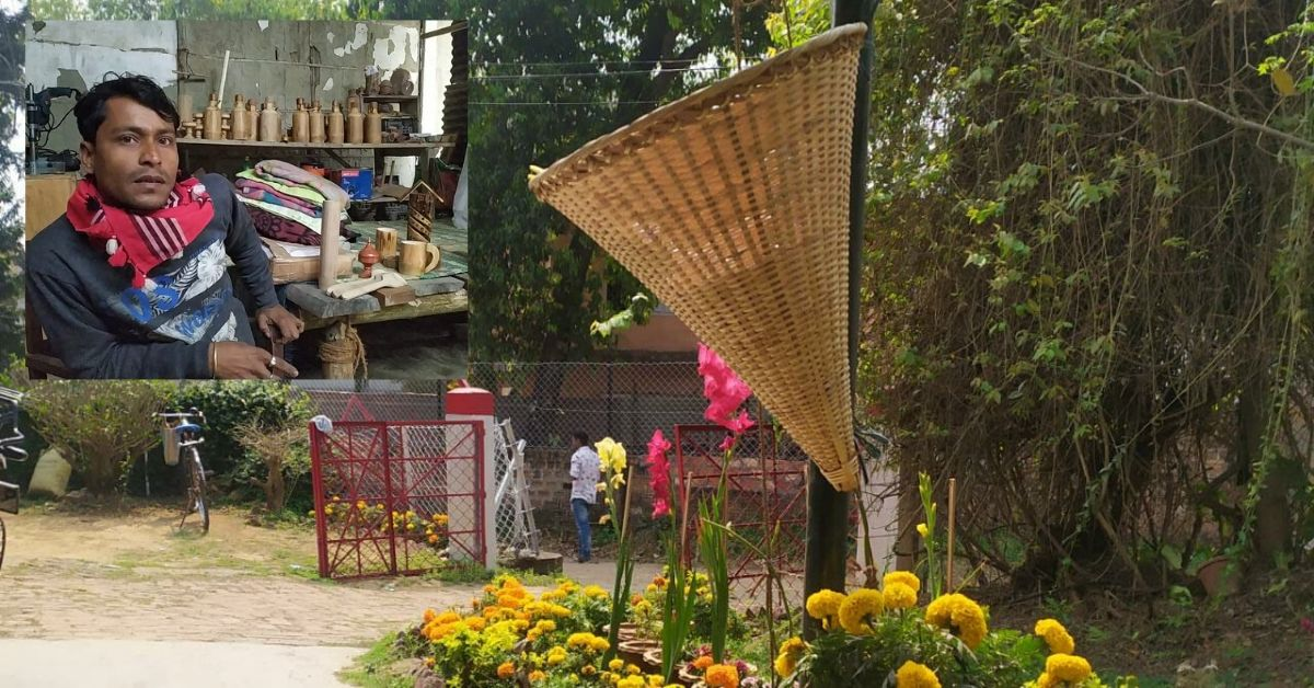 Assam Man makes bamboo dustbin